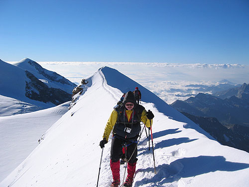 Reaching the summit of Castore