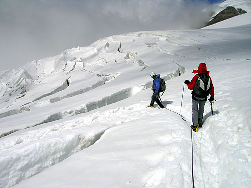 First steps with crampons to Glacier Indren